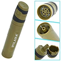 IFOLAINA Straw Water Filter Outdoor Portable Survival Kit 1000L Emergency Travel Camping Hiking Backpacking and Home with 0.05 Microns Filtration Personal Survival Gear