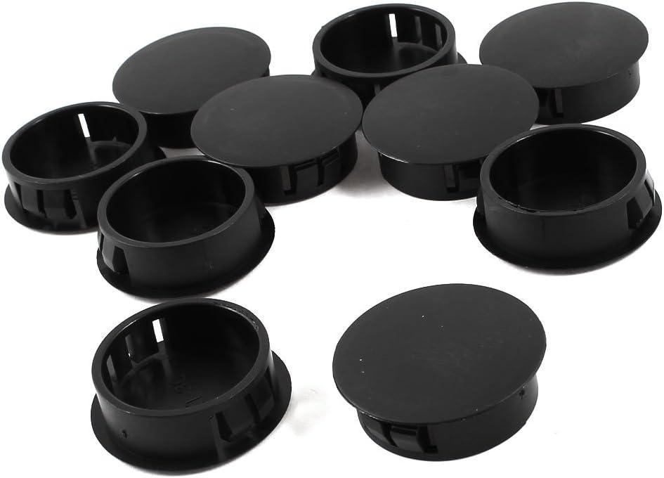 Couvercle de trou de panneau /à verrouillage /à d/éclic rond en nylon Noir 24.7mm x 11.4mm 20Pcs