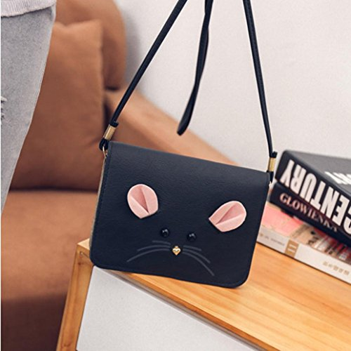 Shoulder Black 2cm PU Mouse Pattern Cute Size Handbag 17 Longra® Leather Women 13 nqY5PwYR7