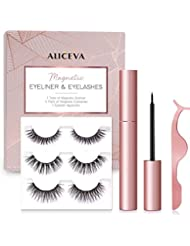 Magnetic Eyeliner and Lashes by Aliceva, Magnetic Eyelashes Kit, 3 Pairs Reusable Magnetic Eyelashes & Magnetic Eyeliner with Tweezers