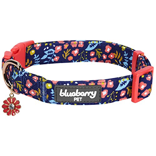 Blueberry Pet 2019 New 6 Patterns Spring Scent Inspired Mystery Garden Floral Dog Collar in Navy Blue, Medium, Neck 14.5