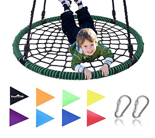 Royal Oak Giant 40'' Spider Web Tree Swing, 600 lb Weight Capacity, Durable Steel Frame, Waterproof, Adjustable Ropes, Bonus Flag Set and 2 Carabiners, Non-Stop Fun for Kids! by Royal Oak (Image #6)