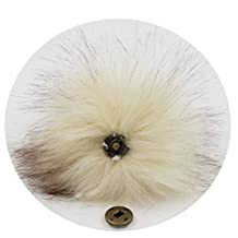 DIY 6pcs Knitting Hats Accessires-Faux Fake Fur Pom Pom Ball with Press Button (Beige)
