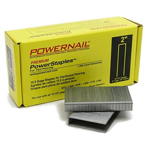 - PowerStaples 2 in. Leg x 1/2 in. Crown x 15-1/2-Gauge Steel Hardwood Flooring Staples (1,000-Pack)