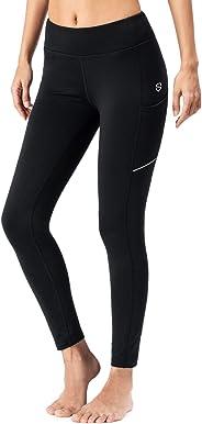 SNOIZ Women's Fleece Lined Thermal Tights Running Yoga Leggings Pants Zip Pockets