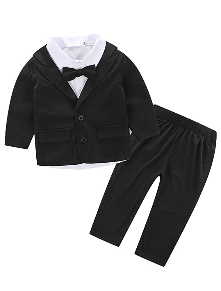 Abolai Baby Boys Gentleman Sets Blazer and Pant and Long Sleeve Shirt 3pcs Leisure Suit