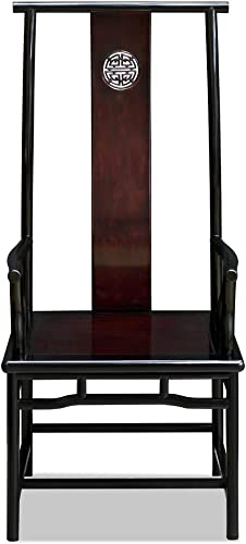 China Furniture Online Rosewood Arm Chair, Hand Carved Longevity Ming Arm Chair in Two Tone Dark Cherry and Black Ebony Finish