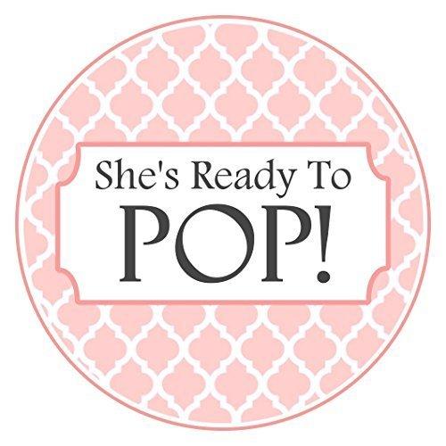 36 Baby Shower Labels, Peach Quatrafoil U0026quot;Sheu0027s Ready To Popu0026quot;  Stickers,