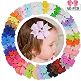 40 Pcs Hair Bows Clips 3'' Pinwheel Boutique Alligato Bow Grosgrain Ribbon Accessories For Girls Baby Toddlers Kids