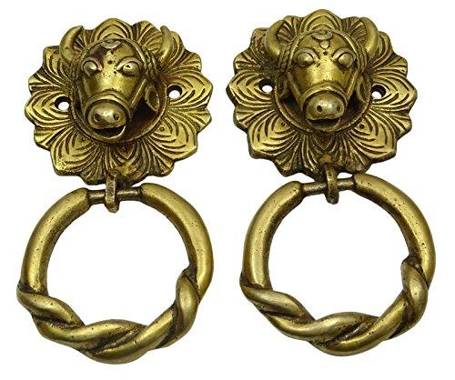 Decorative Antique Vintage Style Gold Tone Finish Brass Bull Head Shape Door Knocker (Tone Door Gold Knocker)