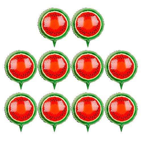 Toyvian 10pcs Party Foil Balloon Cartoon Fruit Mylar Balloons Latex Balloons Photo Props Party Supplies (Watermelon) (Watermelon Inflate)