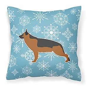 "Caroline's Treasures BB3524PW1818 Winter Snowflake German Shepherd Decorative Pillow, 18"" x 18"", Multicolor"