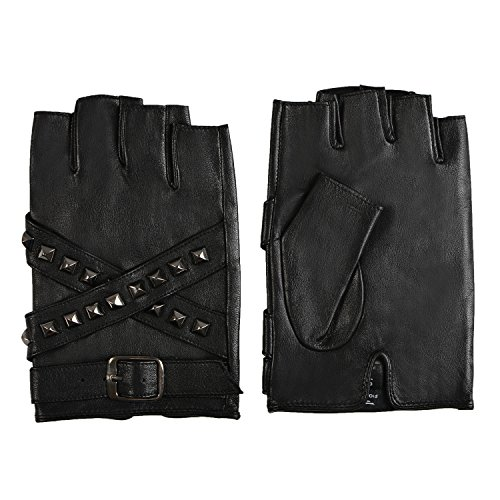 Fioretto 10% OFF Mens Womens Driving Leather Gloves Harley Fingerless Gloves Outdoor Italian Genuine Goatskin Leather Half Finger Gloves Punk Rock Style with Rivets Unlined (M/L, Black) by Fioretto