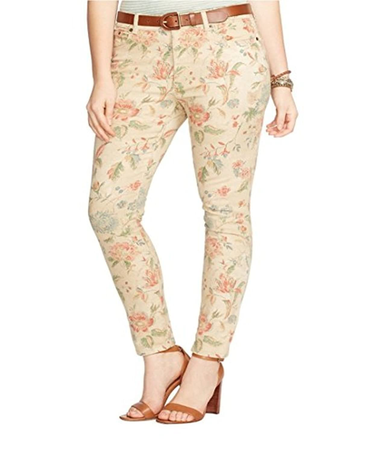 Lauren Ralph Lauren Womens Floral-Print Stretch Skinny Jean, Light Tan Multi, 8