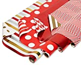 American Greetings Reversible Valentine's Day Wrapping Paper, Red and Gold (4 Pack, 120 sq. ft.): more info