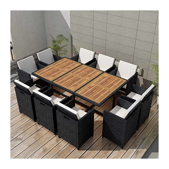 Festnight 11 Piece Outdoor Garden Dining Set, 10 Chairs Black Poly Rattan Acacia Wood, Space Saving - Our stylish rattan garden furniture set will become the focal point of your garden or patio! This rattan dining set, with an elegant design, will be a great choice for al fresco dining or relaxing in the garden. Made of weather-resistant and waterproof PE rattan, the dining set is easy to clean, hard-wearing and suitable for daily use. The powder-coated steel frames make the table and chairs strong and sturdy. Thanks to their lightweight constructions, all items are easy to move. The acacia hardwood tabletop with a natural oil finish is easy to clean with a damp cloth. - patio-furniture, dining-sets-patio-funiture, patio - 51ZXfhz2RvL. SS570  -