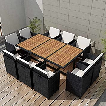 Festnight 11 Piece Outdoor Garden Dining Set, 10 Chairs Black Poly Rattan Acacia Wood, Space Saving