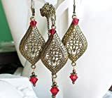 Antique Brass Swarovski Crystal Red Chandelier Earrings Necklace SET