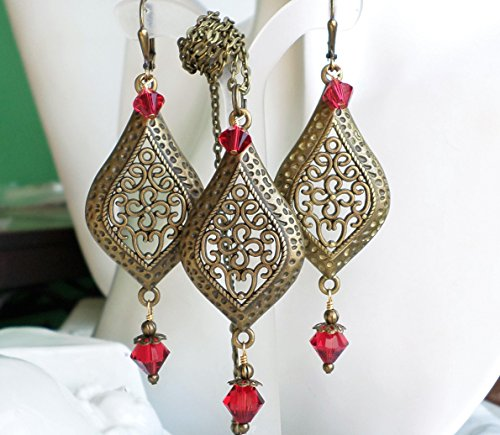 Antique Brass Swarovski Crystal Red Chandelier Earrings Necklace SET by H&H Jewelry Designs