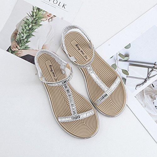 Piatta argento Di Fibbia Scarpe T Sandals Da Spiaggia T Casual Tt 38 Summer Elegance A Con Fairy Forma 4qZOvA