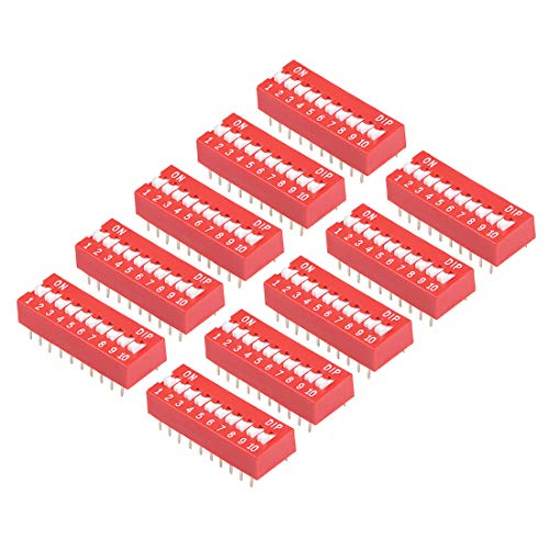 uxcell 10 Pcs Red DIP Switch 1-10 Positions 2.54mm Pitch for Circuit Breadboards PCB