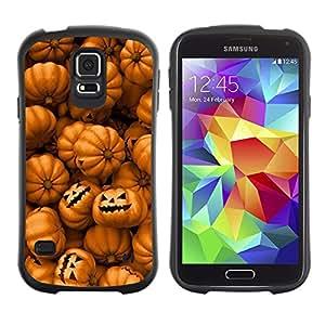 Paccase / Suave TPU GEL Caso Carcasa de Protección Funda para - Orange Pumpkin Evil Holiday - Samsung Galaxy S5 SM-G900