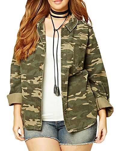 VERO VIVA Women's Plus Size Camo Boyfriend Button Down Long Sleeve Jacket Coat(US20,Camo)