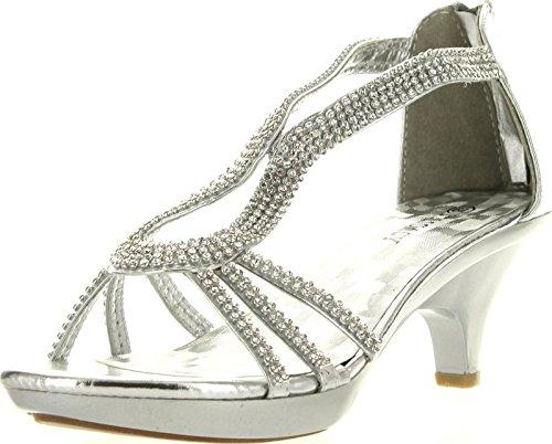 Delicacy Angel 36 Women Dress Sandals Rhinestone Platform Pumps Wedding Bridal Low Heel Shoes,Silver,8.5 (T-bar Flat Sandal)