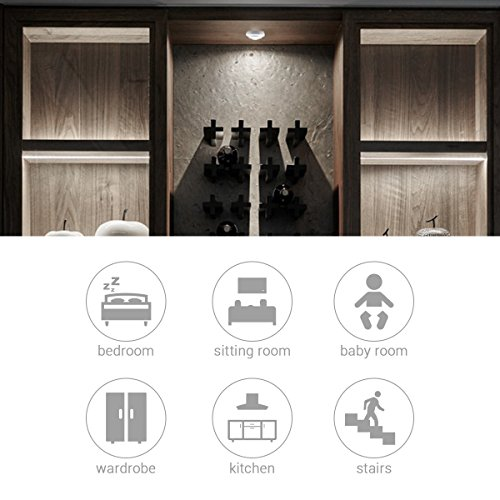 Wireless LED Closet Lights, RGB Color Changing Puck Light with Remote Control, Touch Sensor LED Night Light, Battery Operated Under Cabinet Light - 6 Pack