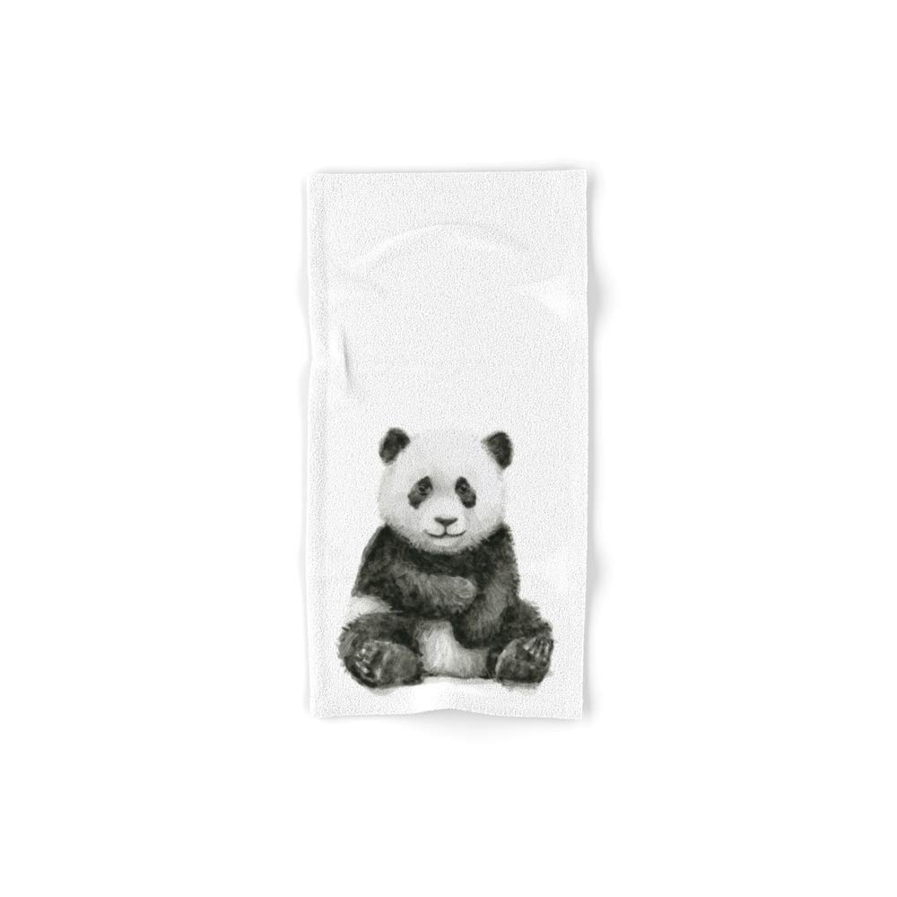 Society6 Bath Towel, 30'' x 15'', Panda Baby Watercolor Animal Art by olechka