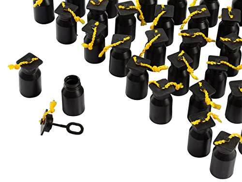 (Party Bubble Favors - 48-Pack Graduation Bubbles Bottles, Play Bubble Wand Party Supplies, Black Graduation Cap Design,)