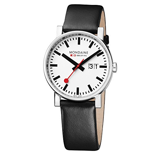 Mondaine EVO Big Date 40mm White Dial, Black Leather Strap A627.30303.11SBB