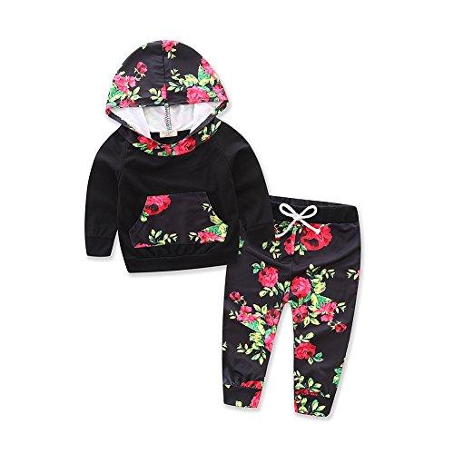 - Baby Girls Floral Hoodie+ Floral Pant Set Leggings 2 Piece Outfits (6-12M, Black2)