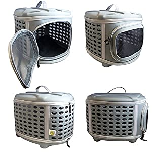 Pet Magasin Hard Cover Pet Carrier - Collapsible Pet Travel Kennel for Cats, Small Dogs & Rabbits