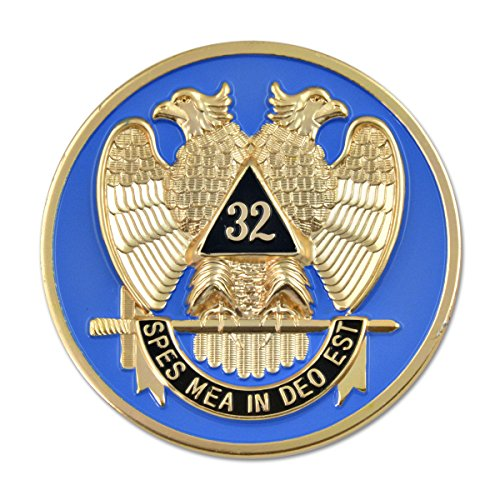 - 32nd Degree Scottish Rite Masonic Round Blue Auto Emblem - 3