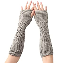 Vovotrade Women Winter Knitted Arm Sleeve Fingerless Soft Warm Mitten Gloves (Gray)