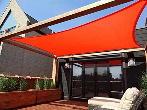Rectangle Sun Shade Sail Patio Deck Beach Garden Yard Outdoor Canopy Cover Choose (13x10 Rectangle, Red) by MTN Gearsmith