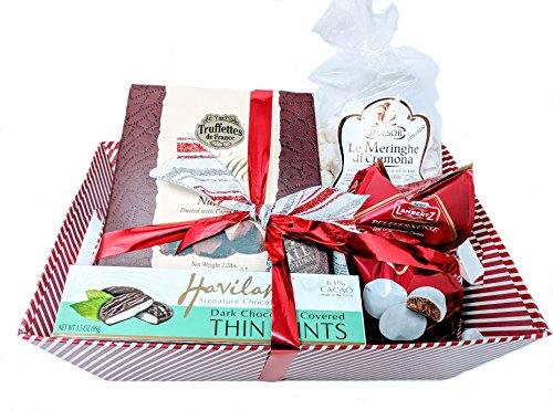 Christmas Tray Bundle With Truffles, Haviland Thin Mints, Lambertz Iced Gingerbread Cookies, Gadeschi Le Meringhe Di Cremona Con Cacao For that Special Person, Employee, Party Hostess or Teacher (Gift Baskets For Employees)