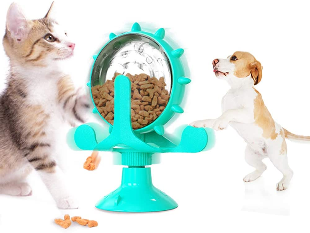 N\A Windmill Lucky Cat Treat Dispenser Toy for Cat and Dog Windmill Interactive Toys Windmill Feeder Cat Toy with Suction Cup Cat Windmill Slow Feeder with Catnip Toys