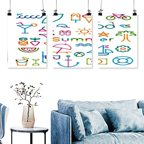 (SCOCICI1588 3-Piece Modern Graphic Design with Computer Digital Like Marks Glasses Summer Vibes Artwork Print White Print On Canvas No Frame 12 INCH X 12 INCH X 3PCS)