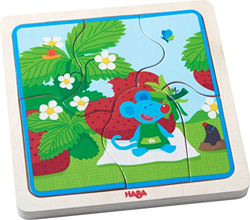HABA Wooden Puzzle Strawberry Mouse | Wooden Puzzles for 3 Years olds | 303182