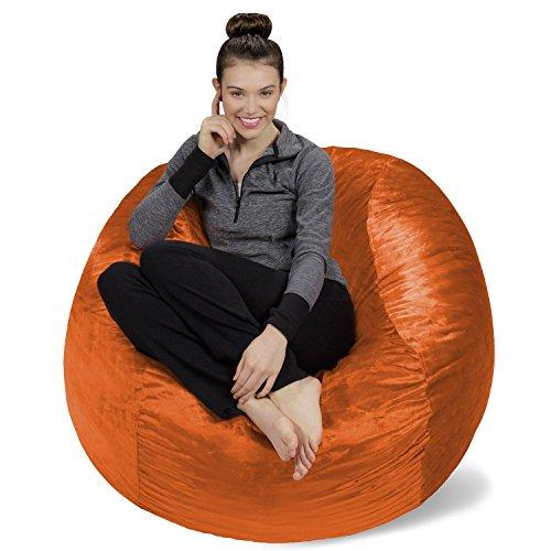 Sofa Sack - Plush, Ultra Soft Bean Bag Chair - Memory Foam Bean Bag Chair with Microsuede Cover - Stuffed Foam Filled Furniture and Accessories for Dorm Room - Tangerine 4' Bean Bag Black Velvet