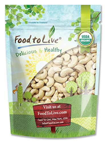(Organic Cashews, 1 Pound - Whole, Size W-240, Unsalted, Non-GMO, Kosher, Raw, Vegan, Bulk)