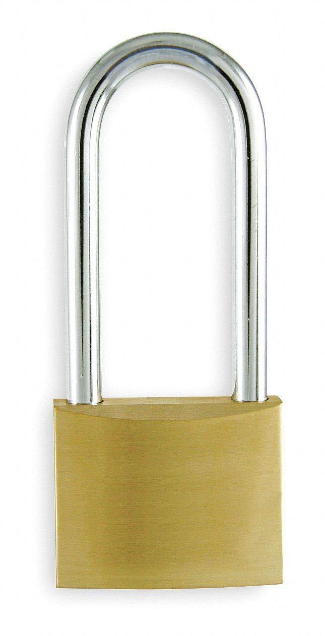 Alike-Keyed Padlock, Extended Shackle Type, 3'' Shackle Height, Brass- Pack of 5
