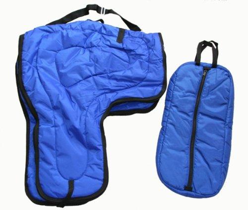 - Western Horse Saddle Carrier and Bridal Halter Bag Large Padded Royal Blue Set