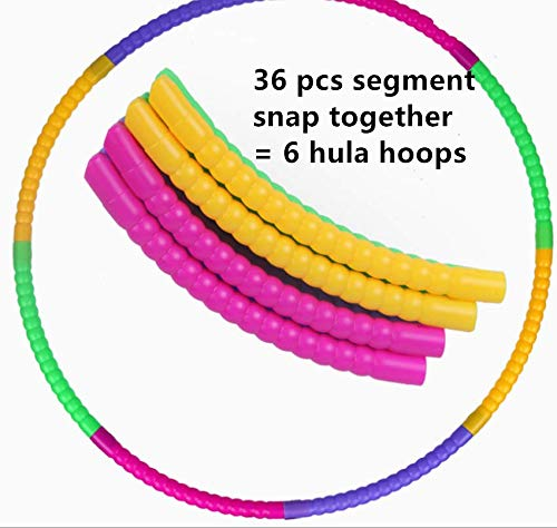 Swity Home Kids Hula Hoop Snap Together Detachable Adjustable Weight Size Plastic Hoops Kids Hula Rings for Child's Sports and Playing Games Exercise Fitness Workout 6 Colorful Segments(42cm) (Adult Hula Hoop 42)