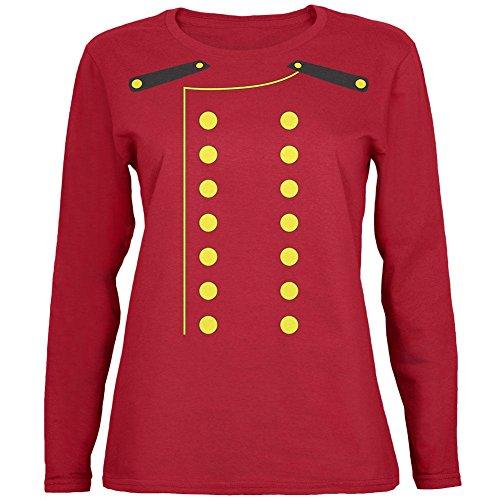 Halloween Hotel Bellhop Costume Womens Long Sleeve T Shirt Red MD ()