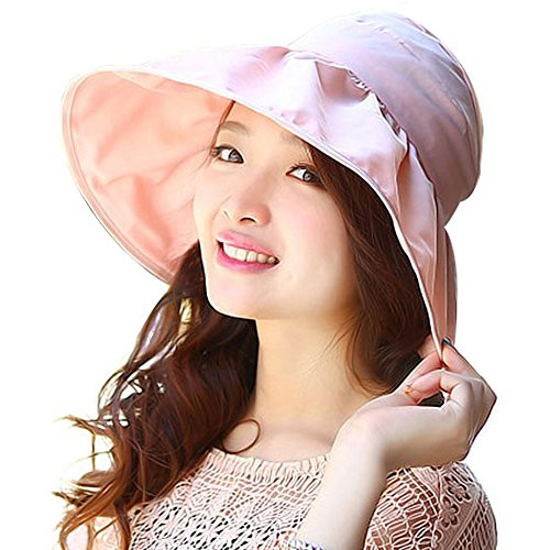 Micmall Large Wide Brimmed UV 50+ Sun Visor Flodable Summer Beach Hat Pink