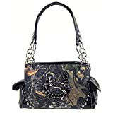Cowgirl Horse Horseshoe Camo Satchel Purse (Black)