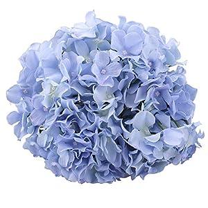 "MEIBEL Artificial Hydrangea 17"" 7 Head Big Blue Fake Silk Flowers Bouquet for Wedding Floral Arrangements and Home Decoration 120"